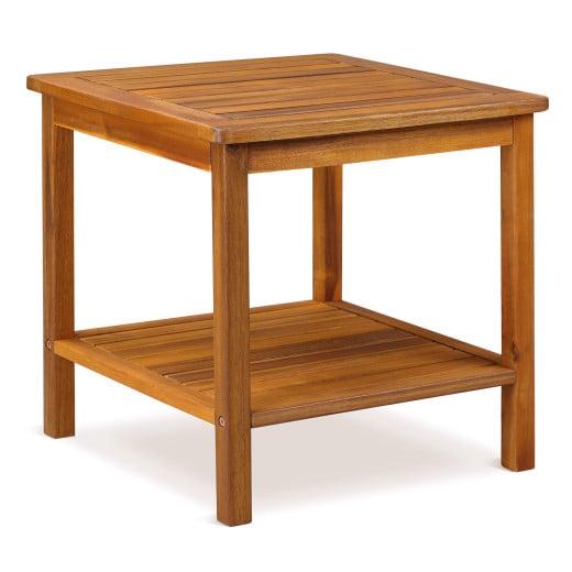 Mesa auxiliar de madera de acacia, 45x45x45cm.
