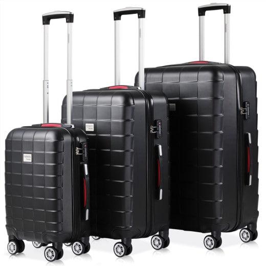 Set 3x maletas rigidas Exopack negro 40l 80l 105l