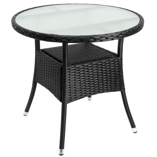 Mesa de jardín redonda de poliratán negro, 80cm.