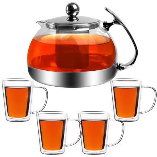Teekanne Glas 1,2L inkl. Teegläser 4er-Set