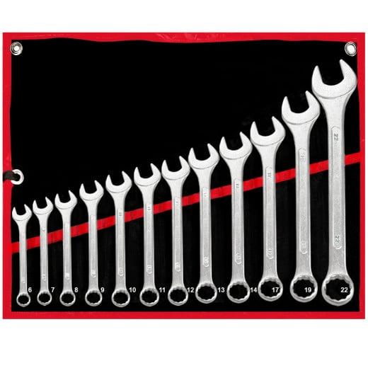 12 tlg. Schraubenschlüsselset Werkzeugstahl 6-22mm