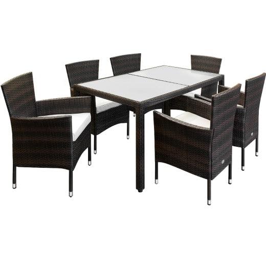 Polyrattan Sitzgarnitur braun, Tisch und 6 stapelbare Stühle inklusive Polster