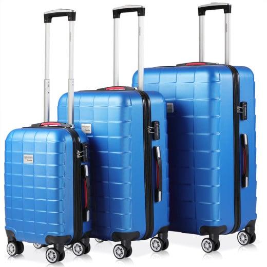 Set 3x maletas rigidas Exopack azul 40l 80l 105l