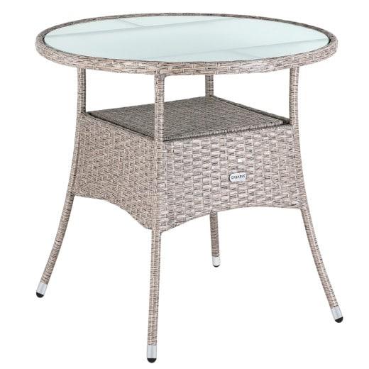Mesa de jardín redonda, poliratán, beige/gris, 80cm.