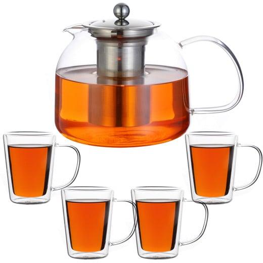 Teekanne Glas 1,5L inkl. Teegläser 4er-Set