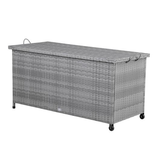 Baúl de almacenamiento gris poliratán 122x56x61