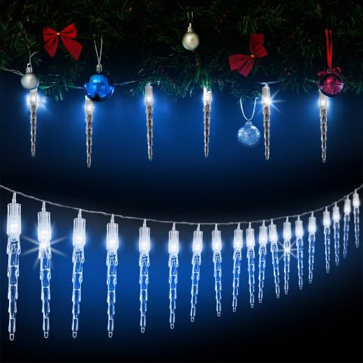 Lichterkette Weihnachten Eiszapfen 40 LEDs 10,5m Blau