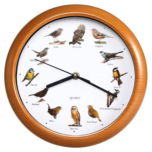 Wanduhr mit 12 Vogelstimmen