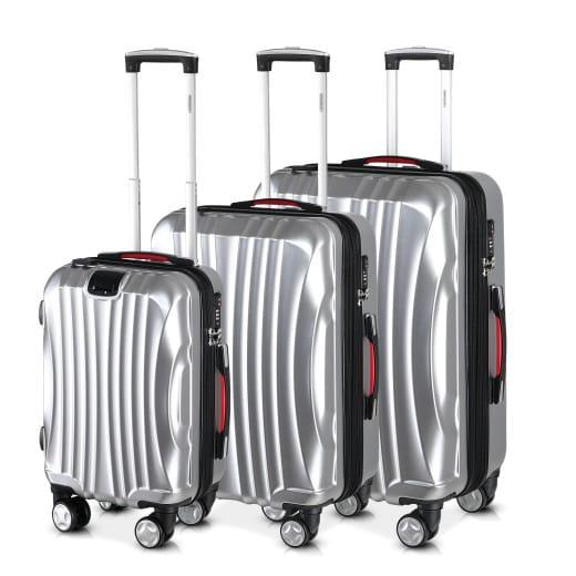 Juego de 3 maletas rigidas Ikarus M L XL plata con USB