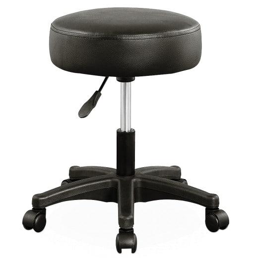 Rollhocker aus Kunstleder in Schwarz 360° drehbar