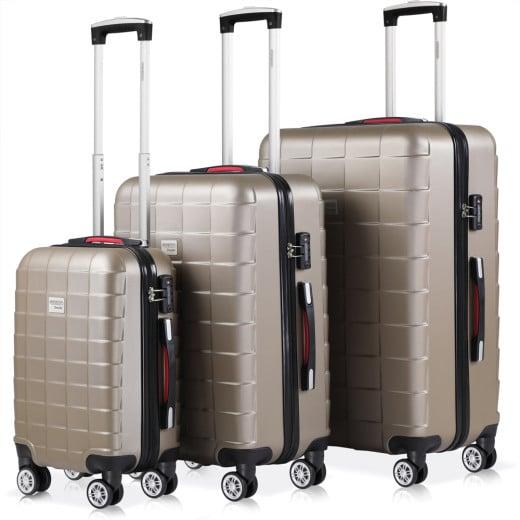 Set 3x maletas rigidas Exopack champán 40l 80l 105l