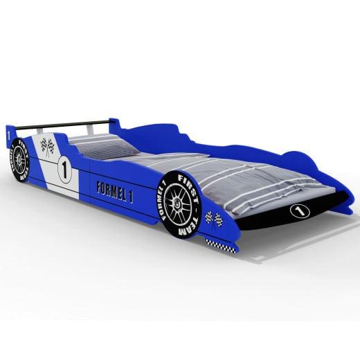 Cama infantil F1 con somier, azul, madera, 90x200cm.