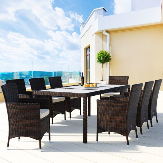 Conjunto de jardín de poliratán, 8+1, sillas apilables.