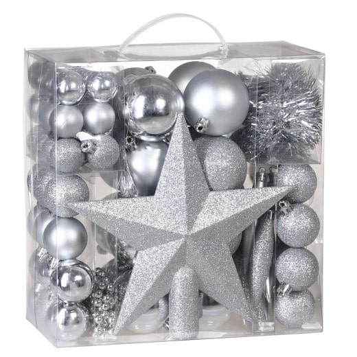 Set de 77 diferentes adornos bolas de navidad Plata