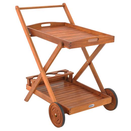 Servierwagen aus Akazienholz mit Rollen