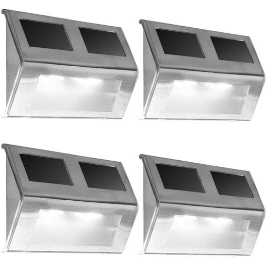 LED Solar-Wandleuchte 4er-Set Edelstahl