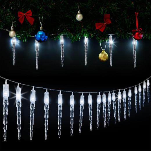 LED Lichterkette Eiszapfen 8m mit 80 Zapfen kaltweiß für innen & außen