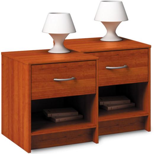2x Nachttisch mit Schublade in Kirschholz-Optik