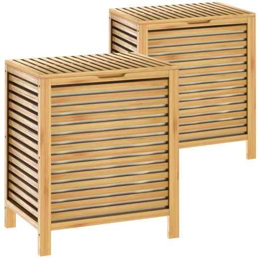 2x Wäschekorb aus Bambus mit 62l Volumen