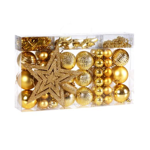 Set de 66 adornos para árbol de navidad Dorado