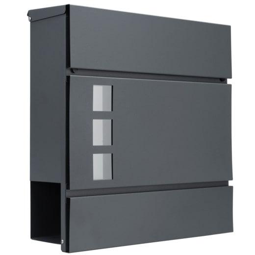 Buzón de acero galvanizado, antracita, 36,9x10x36,7cm.