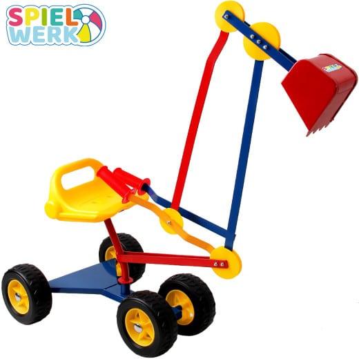 Excavadora de arena con asiento giratorio, para niños.