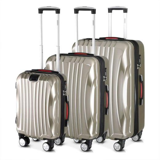 Set 3x maletas rigidas Ikarus champán 38l, 90l, 105l