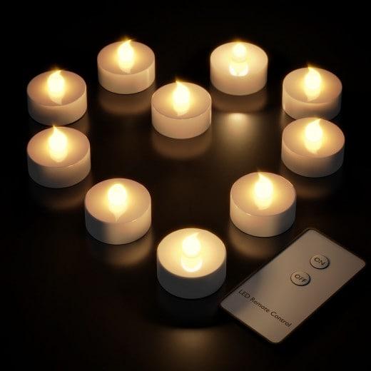 Velas LED inalámbricas con mando a distancia, x10.