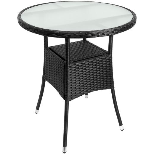 Polyrattan Tisch schwarz, Milchglasplatte weiß