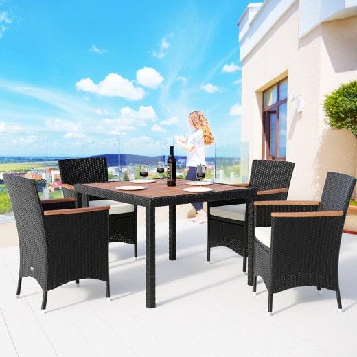 Conjunto de muebles de poliratán,4+1, sillas apilables.