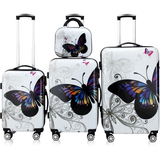 Kofferset Hartschale 4 tlg. Butterfly Beautycase/M/L/XL aus Polycarbonat