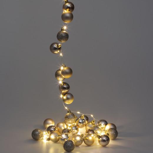 Lichterkette LED Champagner 2m Kugeln