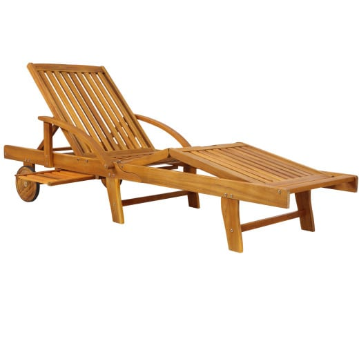 """Tumbona """"Tami Sun"""", madera de acacia, con mesa."""