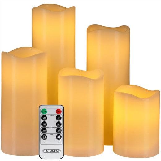 LED Echtwachs Kerzen 5er-Set inkl. Fernbedienung
