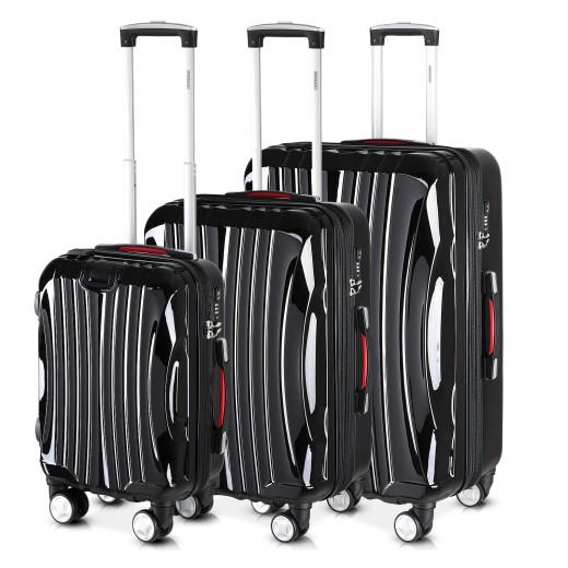 Set 3x maletas rigidas Ikarus negro 38l, 90l, 105l