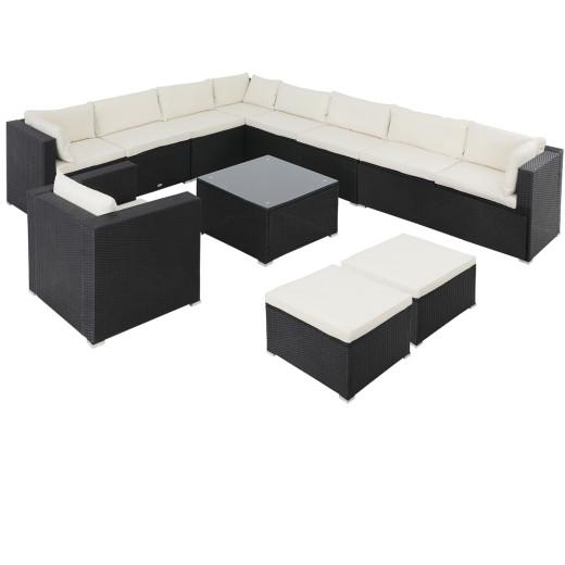 Muebles de jardín/longue XXXL, 35pzs., poliratán negro.