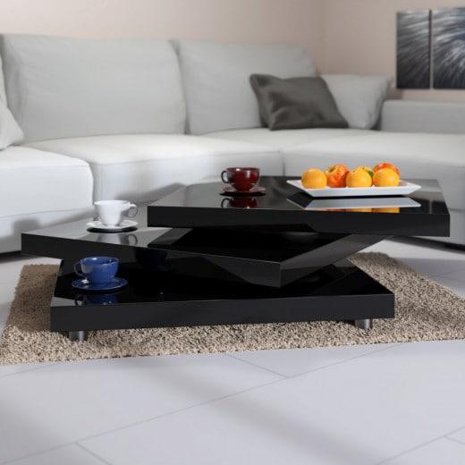 Couchtisch in Schwarz 60x60 cm verstellbar