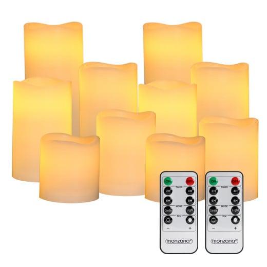 LED Echtwachs Kerzen 10er-Set inkl. Fernbedienung