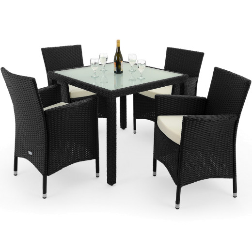 Conjunto de jardín de poliratán, 4+1, sillas apilables.