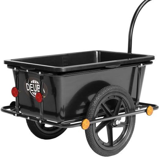 Remolque para bicicletas, negro, carga 80Kg, 90L.